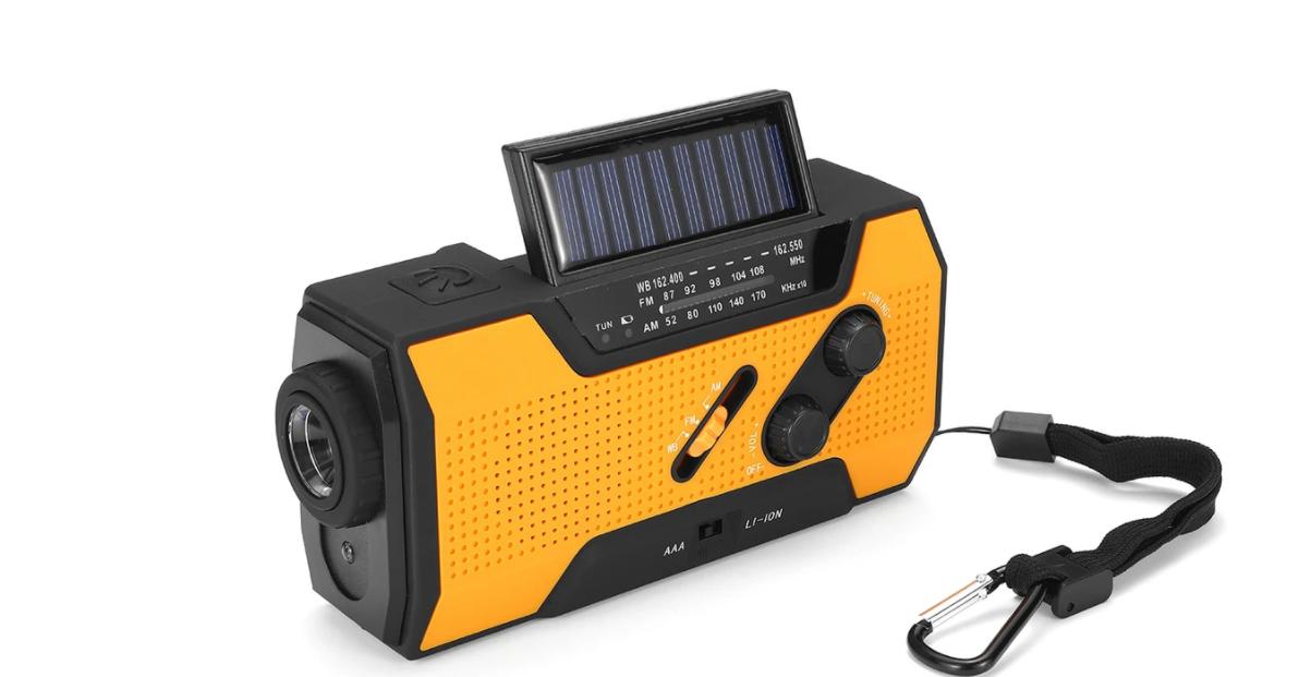 Noodradio Dynamo, solar en accu oranje